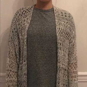 Hollister gray/white crochet cardigan